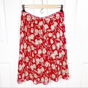 ANN TAYLOR 8 Silk Skirt Floral Tulip